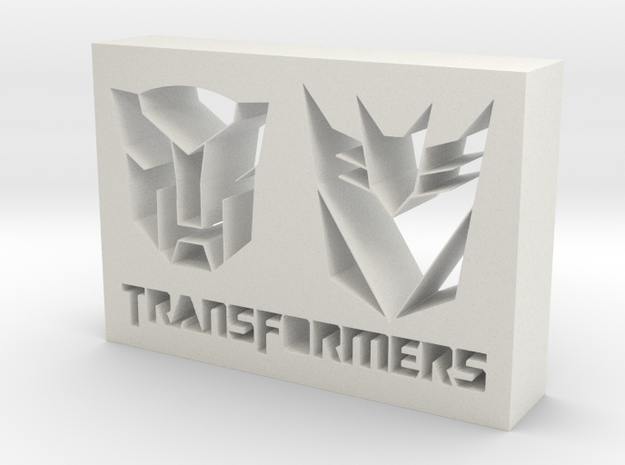 Transformers Logo in White Natural Versatile Plastic