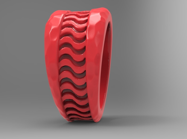 Wave Ring Pl in Red Strong & Flexible Polished: 10 / 61.5