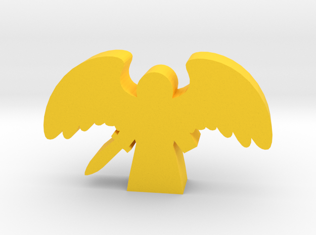 Game Piece, Angel with Spread Wings and Sword in Yellow Processed Versatile Plastic