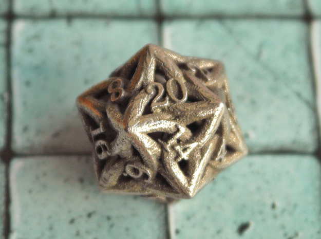 Celtic D20 in Polished Bronzed Silver Steel