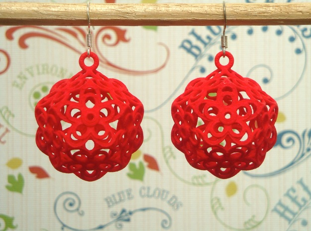 Flower Dodecahedron Earrings 3d printed
