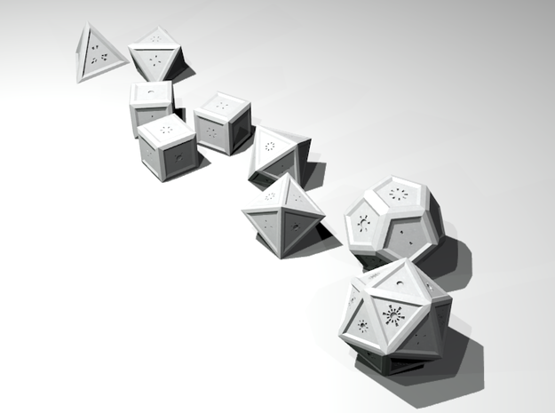 Radial: Stylized Dice Set 3d printed