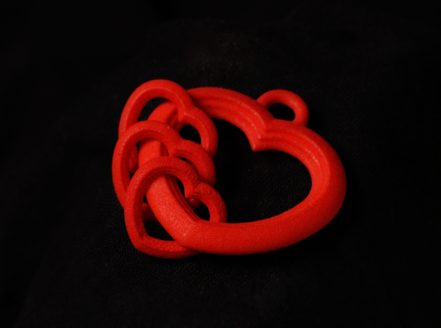 3 Hearts Linked in Love in Red Processed Versatile Plastic