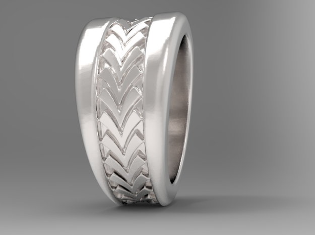 Spruce Ring S B in Polished Silver: 10 / 61.5