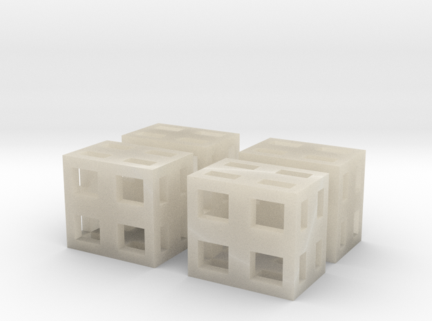 Boxes 4x scale 1-100 in White Acrylic: 1:100
