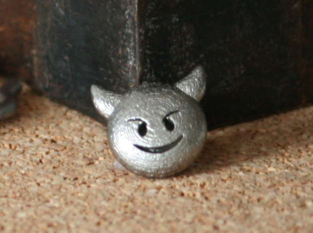 Dime Sized Emoji Smiling Imp in Stainless Steel