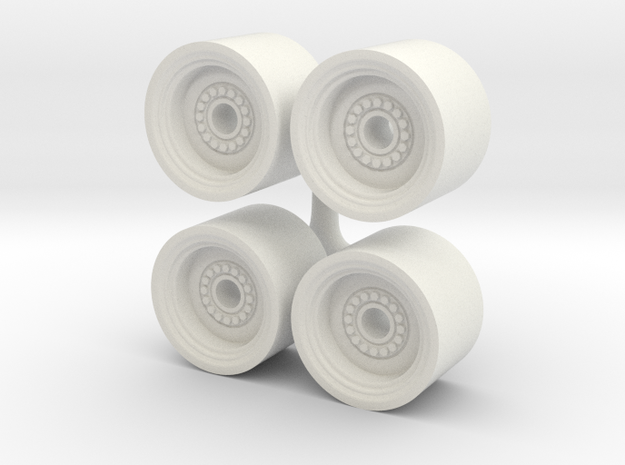 1/64 Wheel loader wheels in White Natural Versatile Plastic