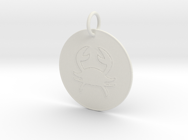Cancer Keychain in White Natural Versatile Plastic