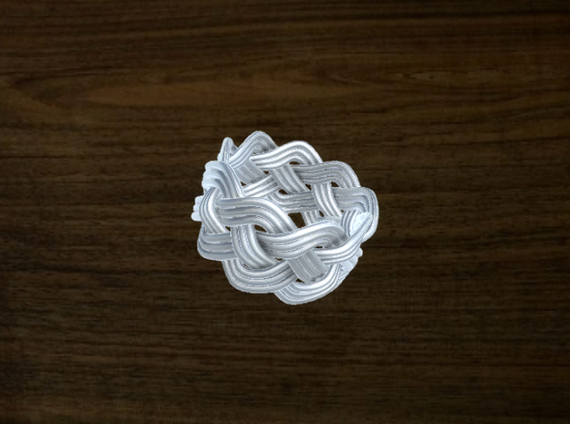 Turk's Head Knot Ring 4 Part X 9 Bight - Size 5 3d printed