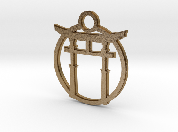 Torii Keychain in Polished Gold Steel