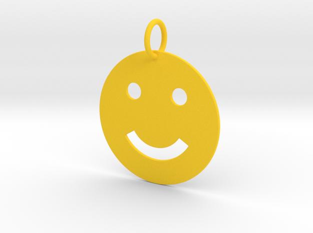 Smiley Keychain in Yellow Processed Versatile Plastic