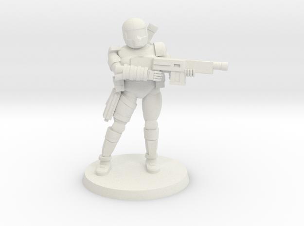 36MM Female Combat Armor in White Natural Versatile Plastic