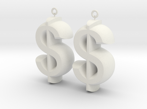 Earrings Dollar Symbols in White Natural Versatile Plastic