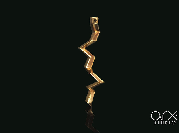 Thunderbolt Pendant in 18k Gold Plated Brass