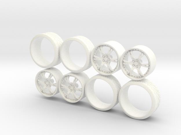 Set Wheels Sporz² + Tire 1-18 in White Processed Versatile Plastic