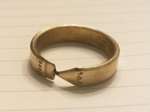 Pencil Ring, Size 8 in Raw Brass