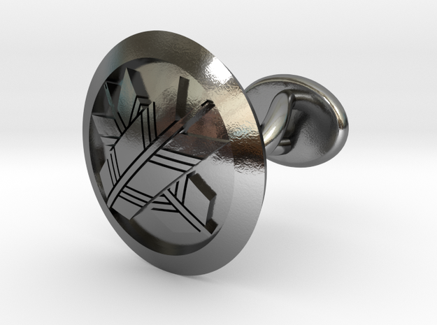 """Japanese mark cufflinks """"丸に違い矢紋"""" in Polished Silver: Small"""