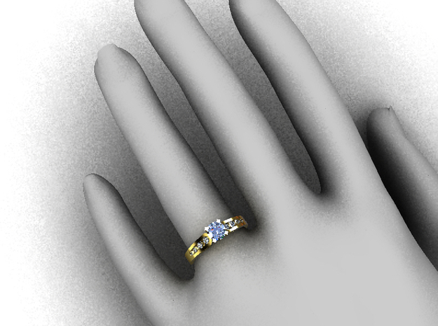 CCW36 Solitaire Ring 3d printed