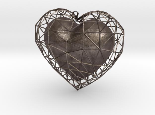 Heart in jail in Polished Bronzed Silver Steel