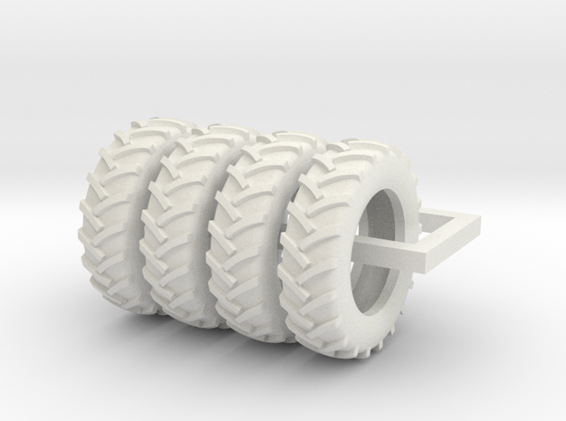 1/64 Scale 18.4R38 tires in White Strong & Flexible