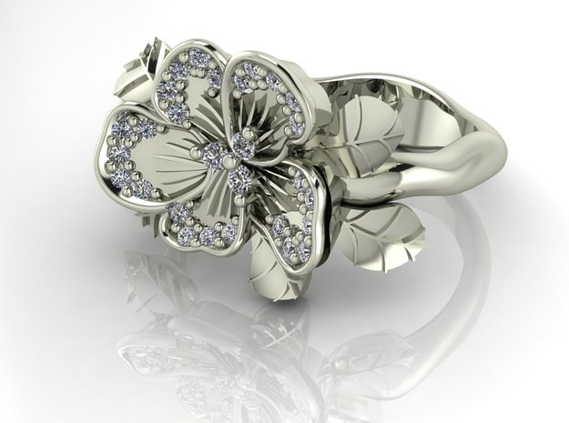 Petal flower with leaves NO STONES  in Premium Silver