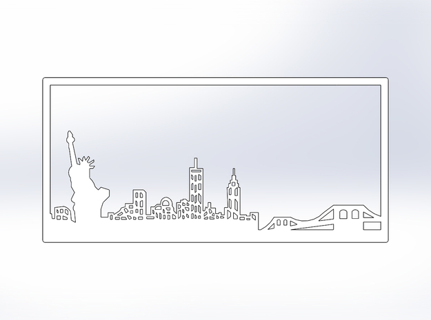 New York Skyline - 4.125 X 8.625 (M) in White Natural Versatile Plastic