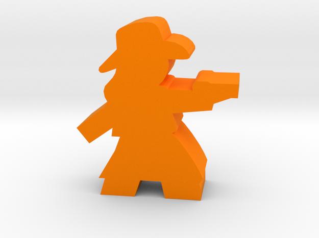 Game Piece, Cowgirl, Dress Aiming Pistol in Orange Processed Versatile Plastic