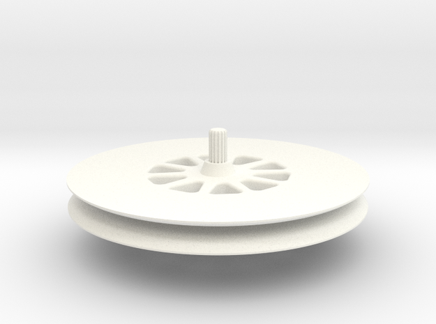 Deep-groove-wheel in White Processed Versatile Plastic