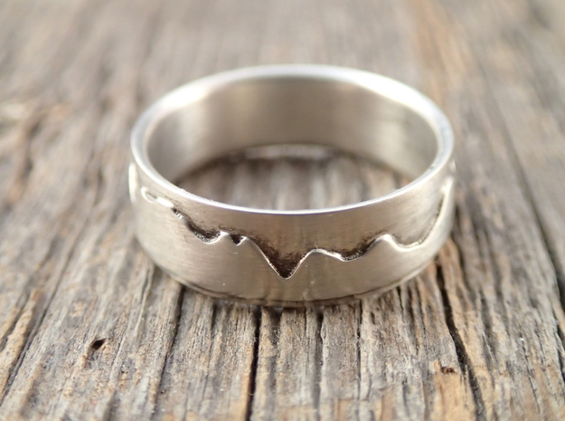 Mountain Ring (or race profile!) in Polished Silver: 6 / 51.5