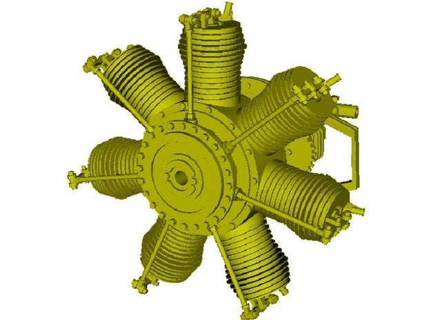1/16 scale Gnome 7 Omega rotary engine in Smooth Fine Detail Plastic