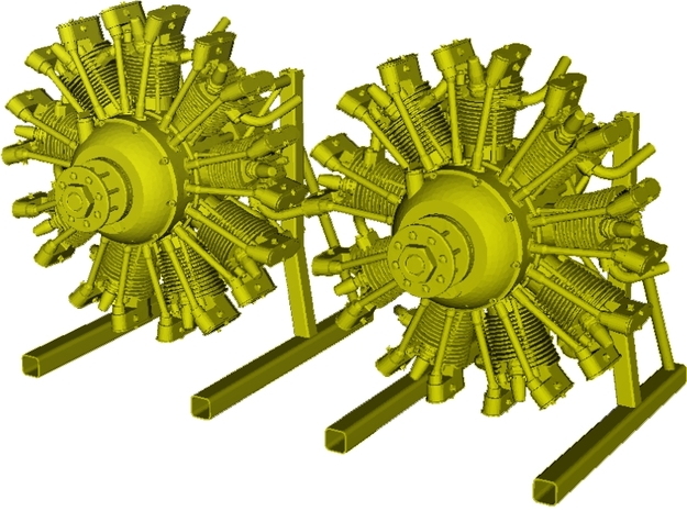 1/10 scale Wright J-5 Whirlwind R-790 engines x 2 in Smooth Fine Detail Plastic