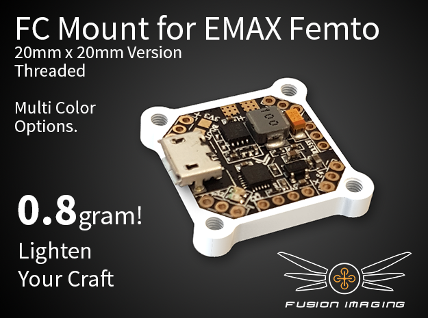 Femto FC 20x20mm Mount / Transfer Plate in White Strong & Flexible