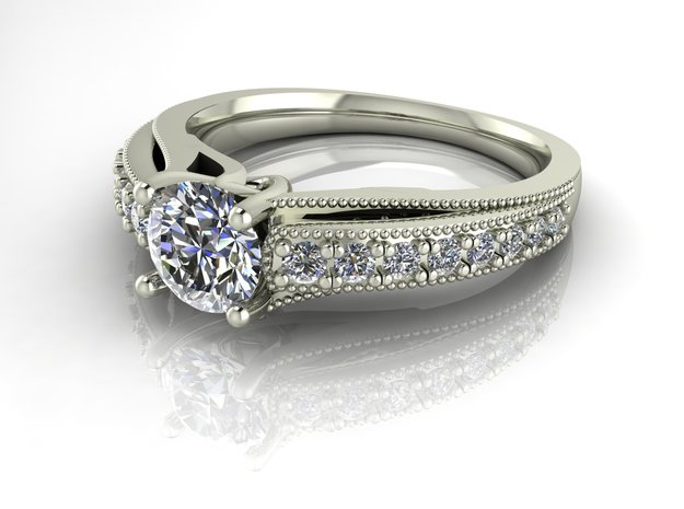 Detailed Solitaire 2 NO STONES SUPPLIED in Premium Silver