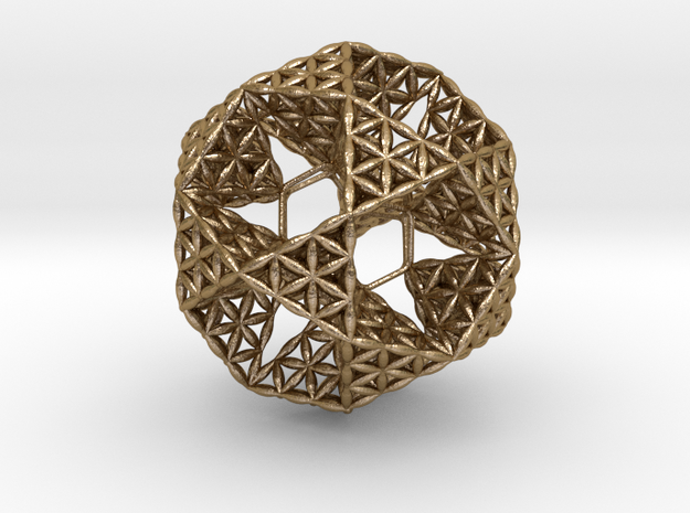 """FOL IcosiDodecahedron w/ nest Dodecahedron 2.3"""" in Polished Gold Steel"""