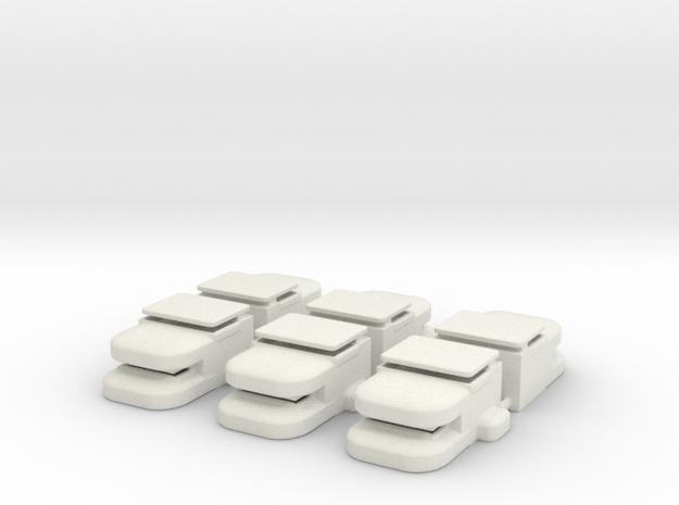 Heavy Bunker Set of (6) in White Strong & Flexible