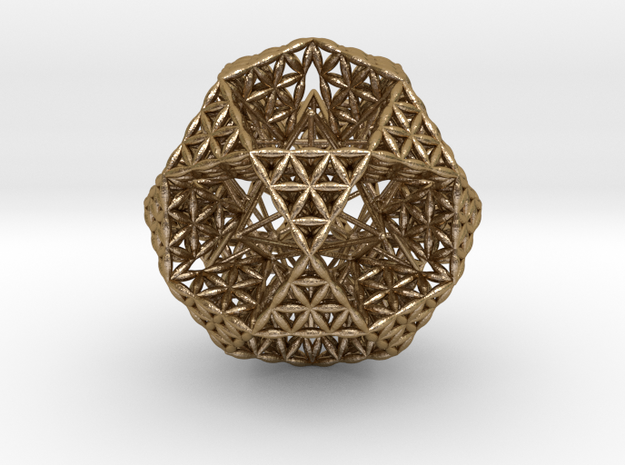 "FOL IcosiDodecahedron w/ Stellated Dodecahedron 2"" in Polished Gold Steel"