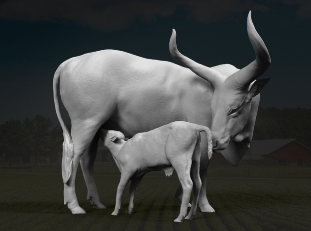 Ankole-Watusi 1:12 Mother and Calf in White Strong & Flexible
