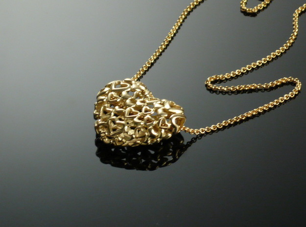 Heart by Heart 35mm Pendant. 3d printed 66 small Hearts makes a great open Heart