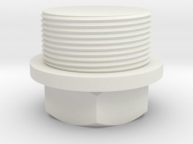 Nut Job 22mm - 1mm thread in White Natural Versatile Plastic