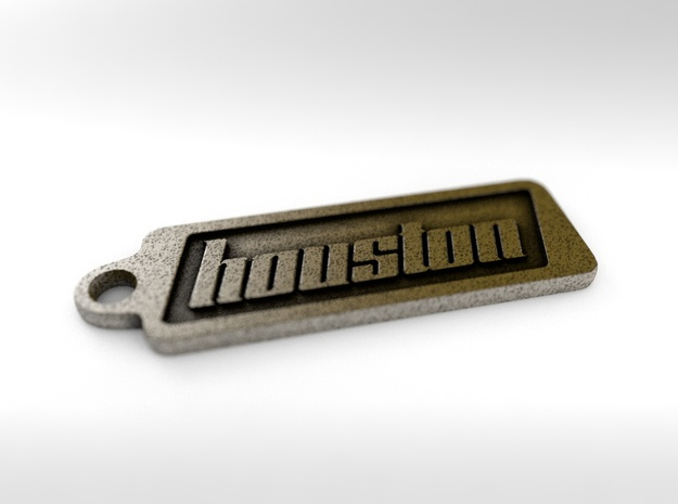 Houston, Texas Keychain in Polished Bronze Steel