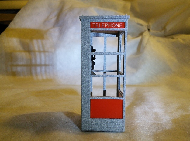 Telephone Booth, 1/32 Scale in White Natural Versatile Plastic