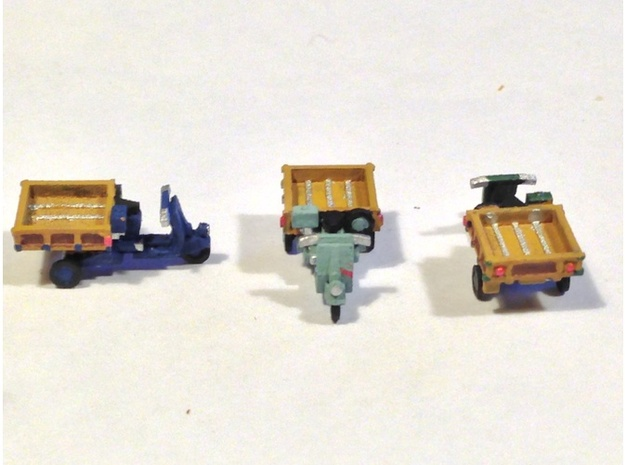 N Scale 1948 Piaggio Ape w/ Open Bed 3d printed 1 model per order. 3 shown for viewpoints and colors