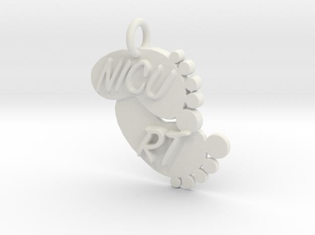 NICU RT Foot Print Keychain in White Natural Versatile Plastic