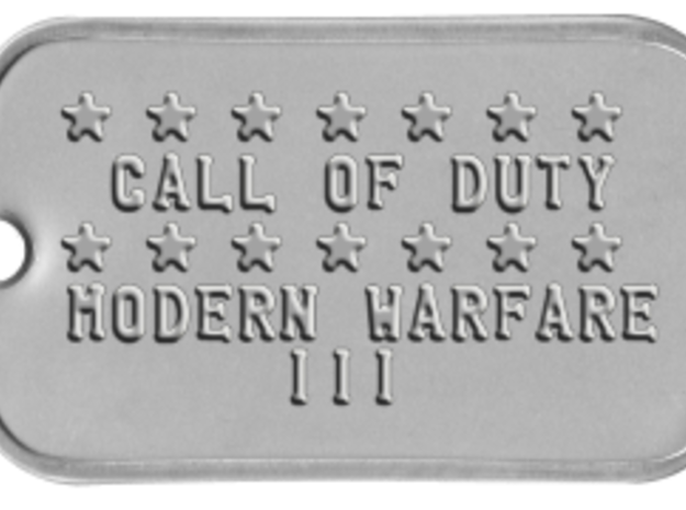 Call of Duty Modern Warfare 3 Dog Tag in White Natural Versatile Plastic