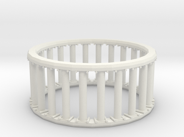 Greek/Roman Pillar Ring in White Natural Versatile Plastic