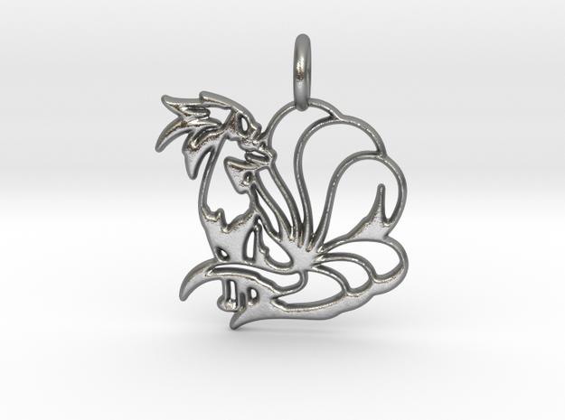 Ninetales Pendant in Natural Silver