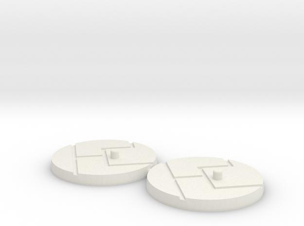 "1"" Titan Scale Bases (2) in White Natural Versatile Plastic"