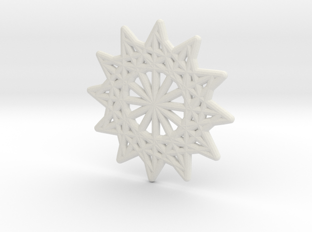 Magic Star Trivet or Coaster (Medium) in White Strong & Flexible