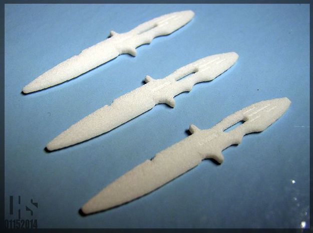 1/6 scale Elite Forces Boot Knives X3 in White Natural Versatile Plastic