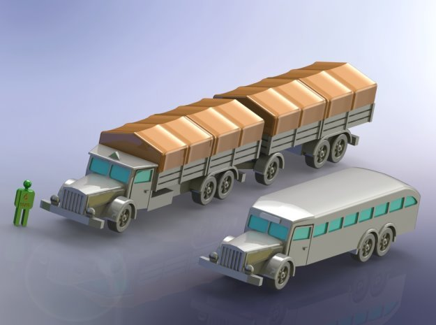 German Vomag Bus, Truck & Trailer 1/144